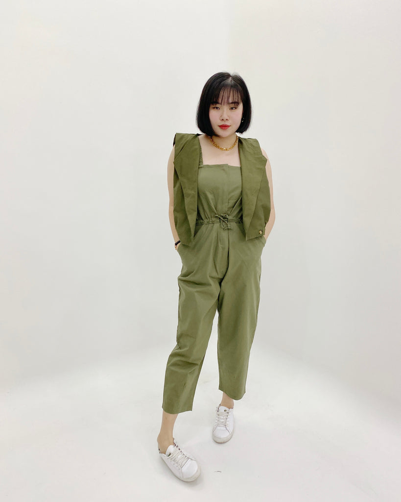 Ruched Strap Zipper Jumpsuit (Khaki)