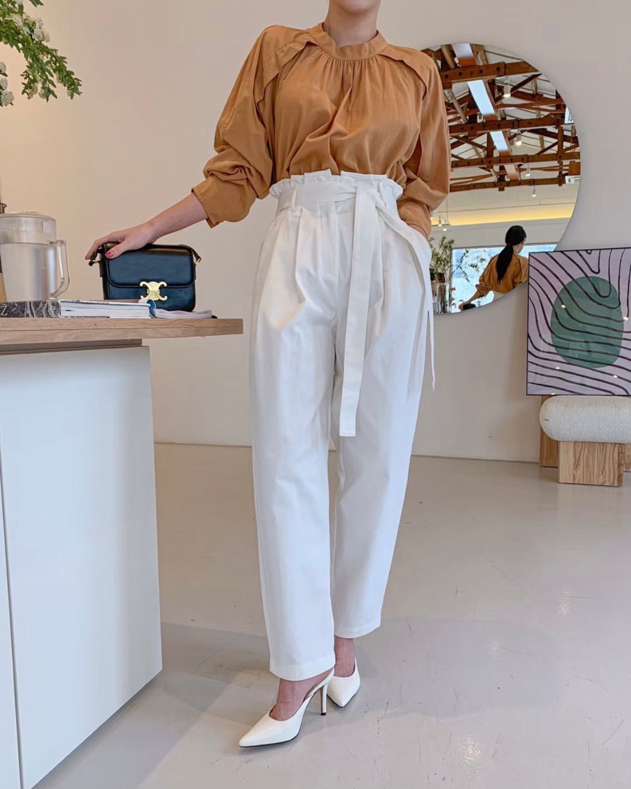 High Waist Paperbag Style Pants