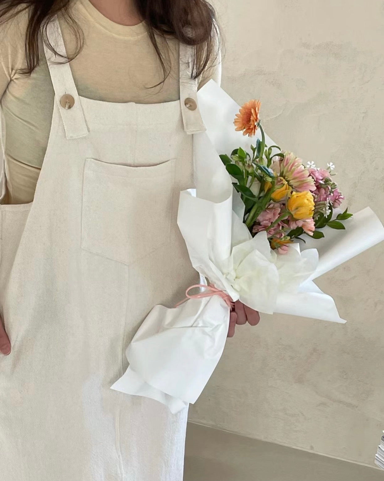 Sheron Square Neck Pinafore Ops (Cream)