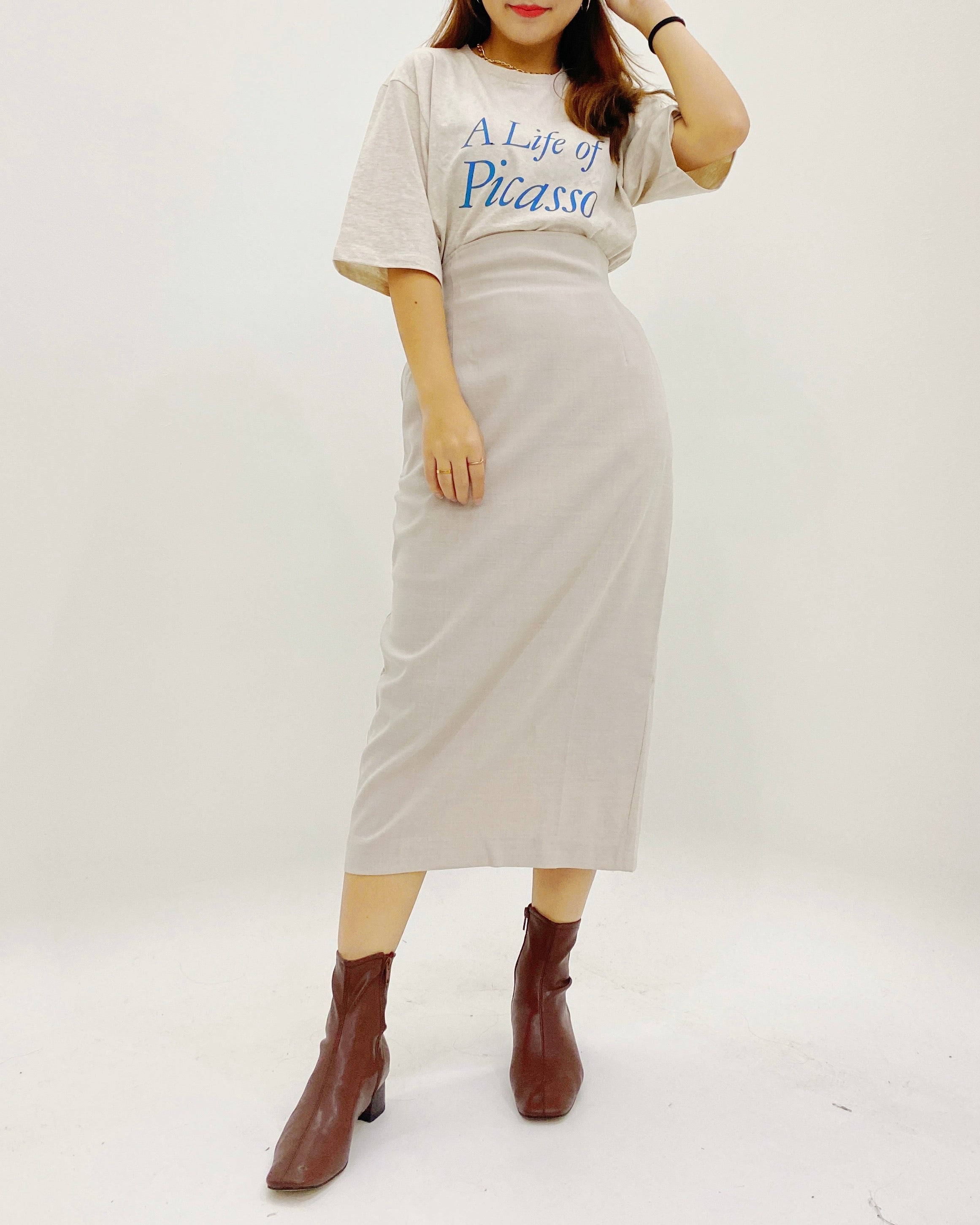 Highwaist Back Banded Straight Skirt (Beige)