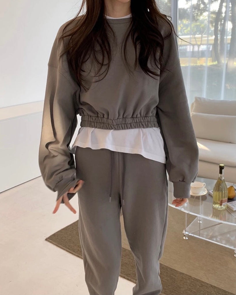 Ashley Cropped Pullover & Joggers (Grey)