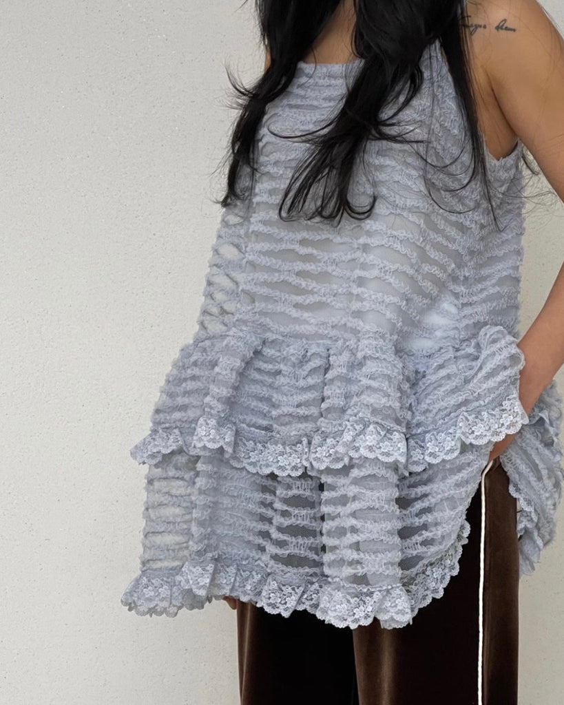 Lace Babydoll Tiered Blouse (Grey)