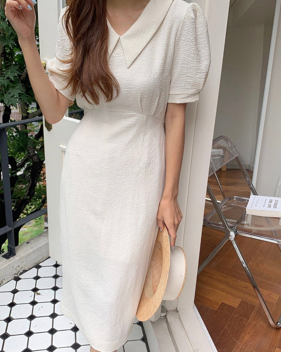 Pointed Collar Pintuck Puff Sleeve Ops (Ivory)