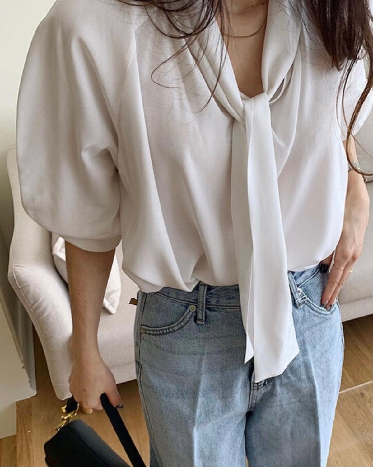 Collar Tie Soft Blouse
