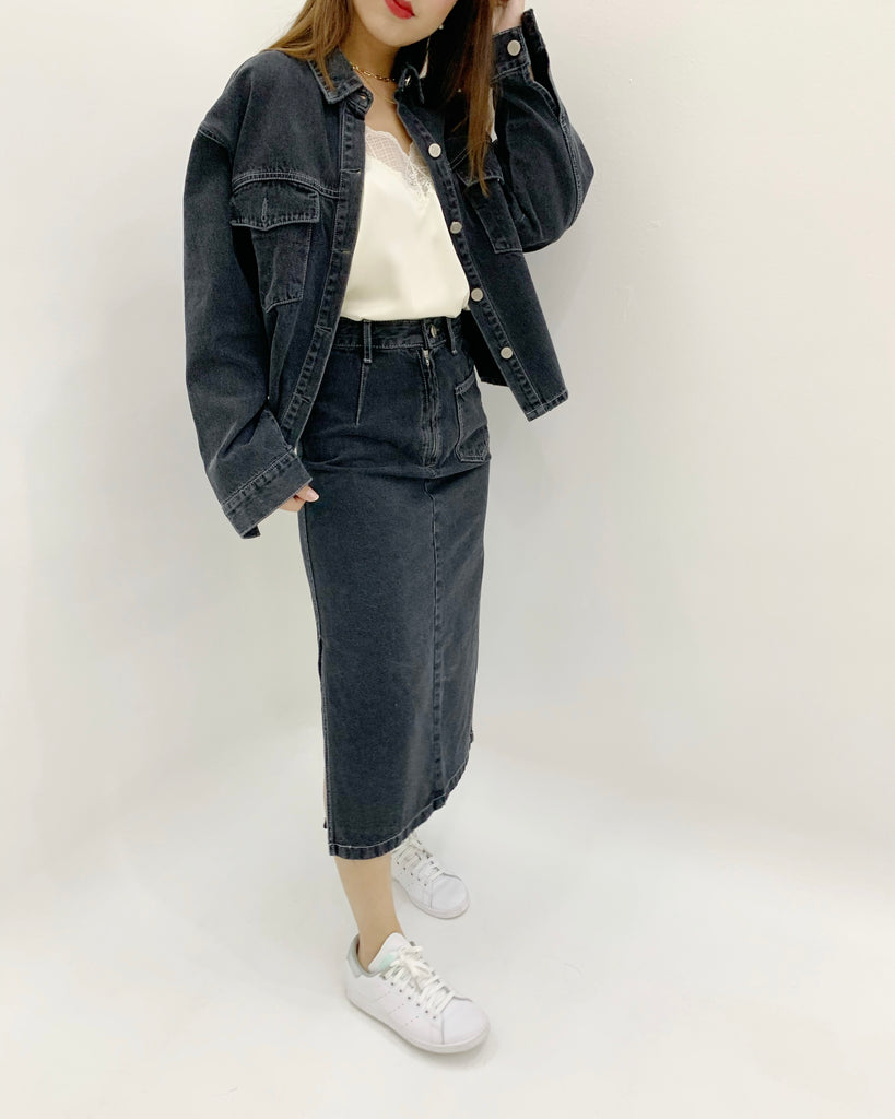 Joelle Stitched Pocket Denim Jacket