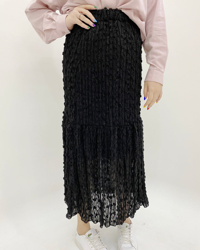 Tinsel Textured Banded Flare Skirt (Black)