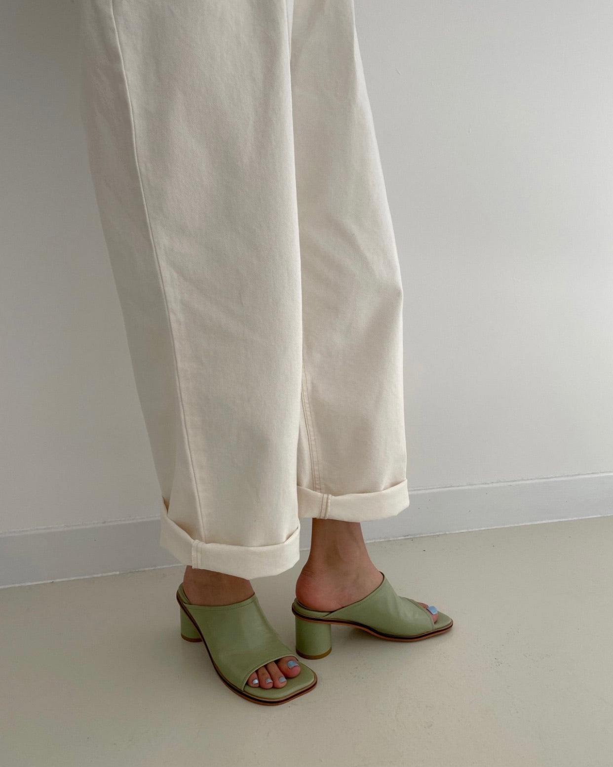 The Comfortable Slip Heeled Mules (Green)
