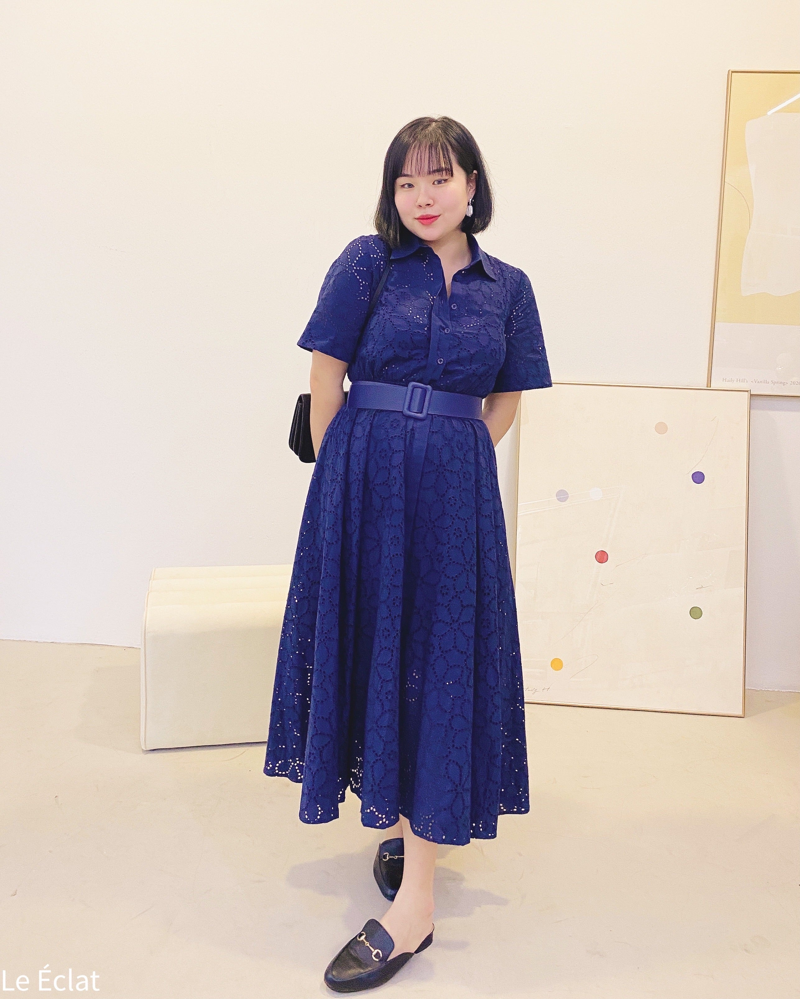 Eyelet Button Long Flare Dress With Belt (Navy)