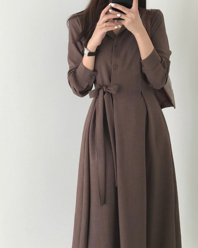 Amina Side Tie Shirt Ops (Brown)