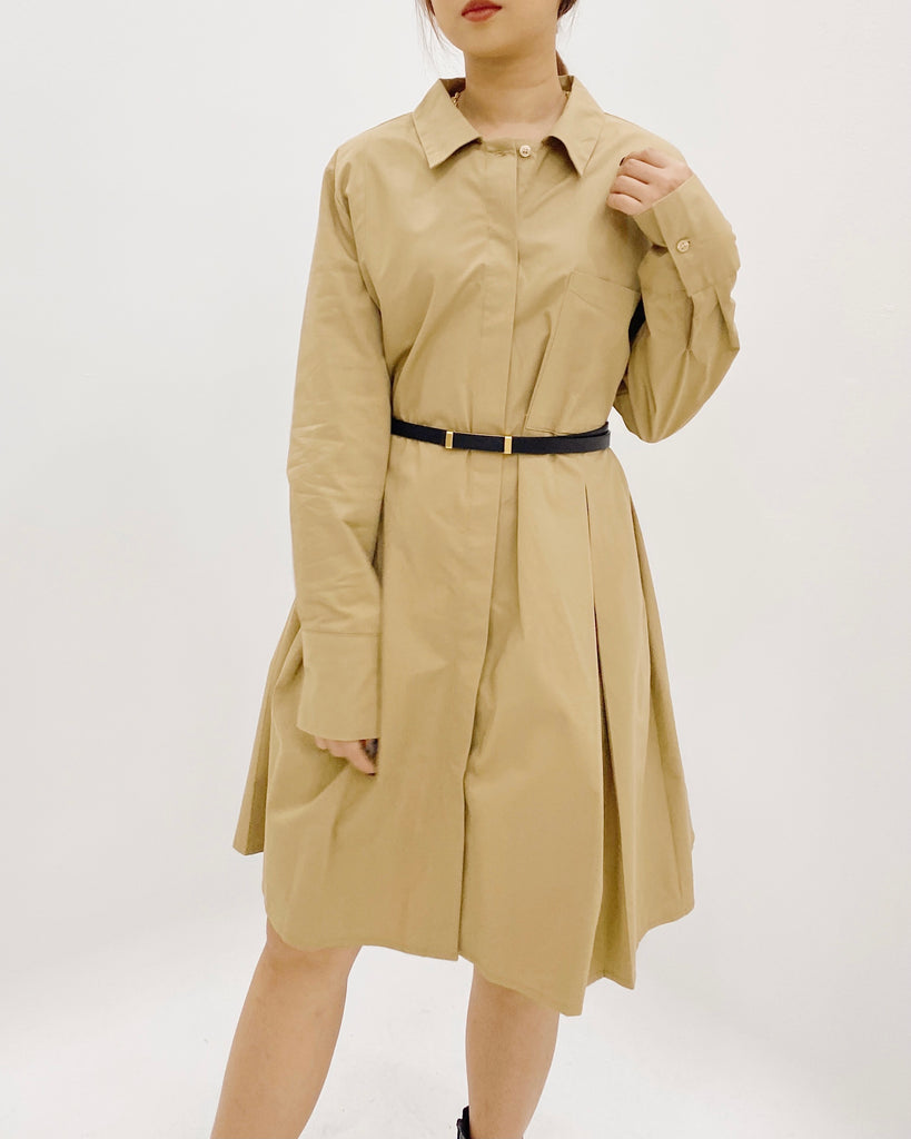 Box Pleat Button Down Ops (Beige)