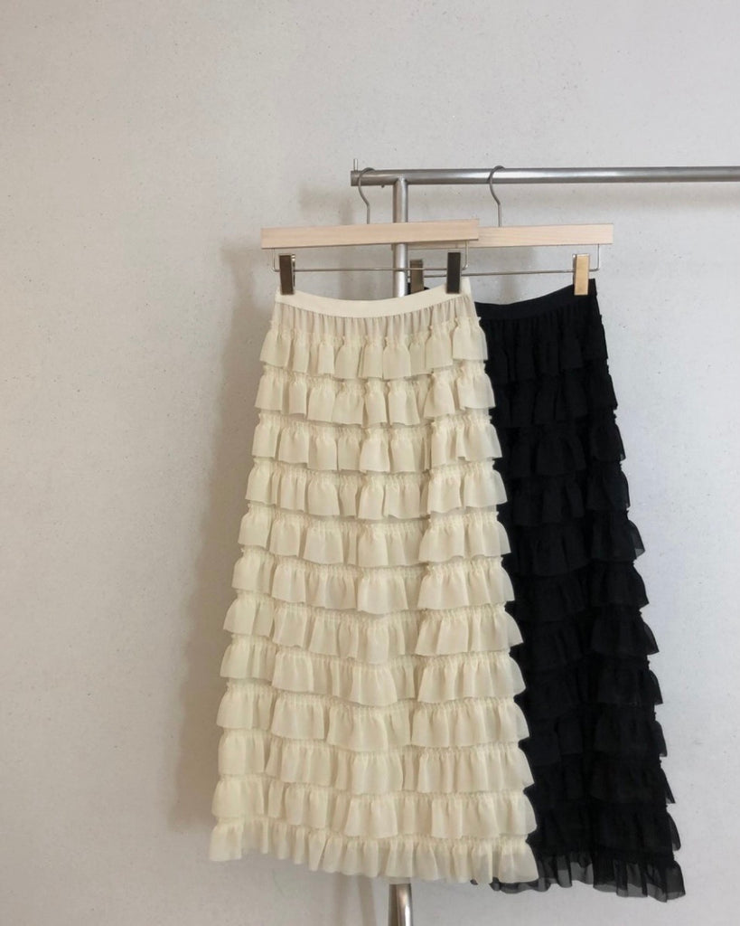 Embery Tiered Skirt (Ivory)