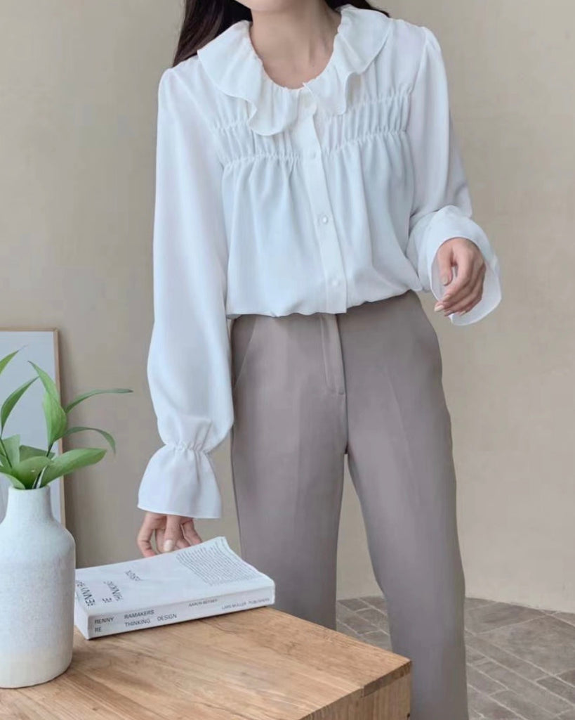 Zora Gathered Detail Flowy Blouse (Ivory)