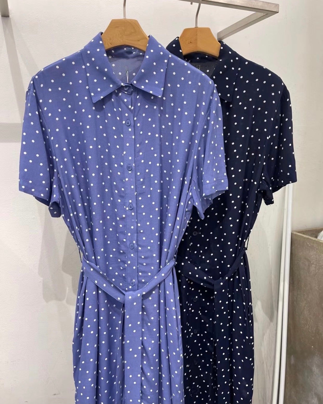 Polka Dot Short Sleeve Button Ops