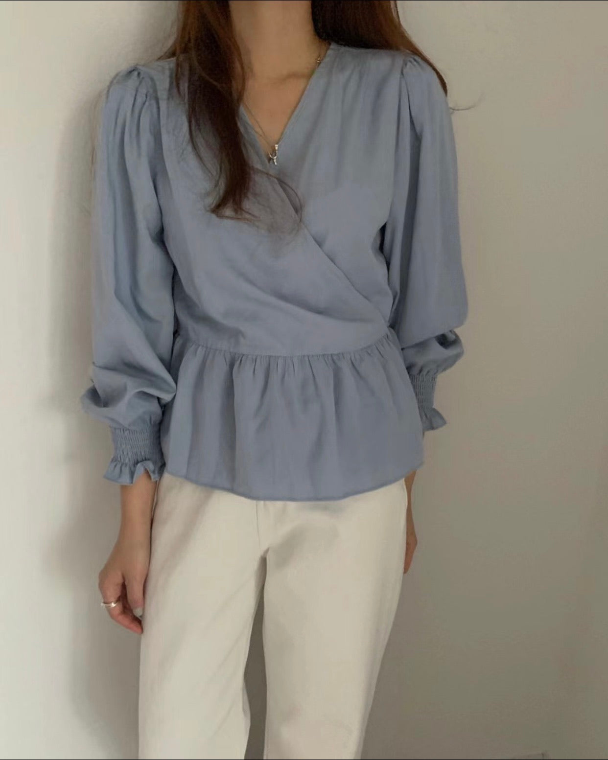 Wrap Bottom Ruffle Blouse (Blue)