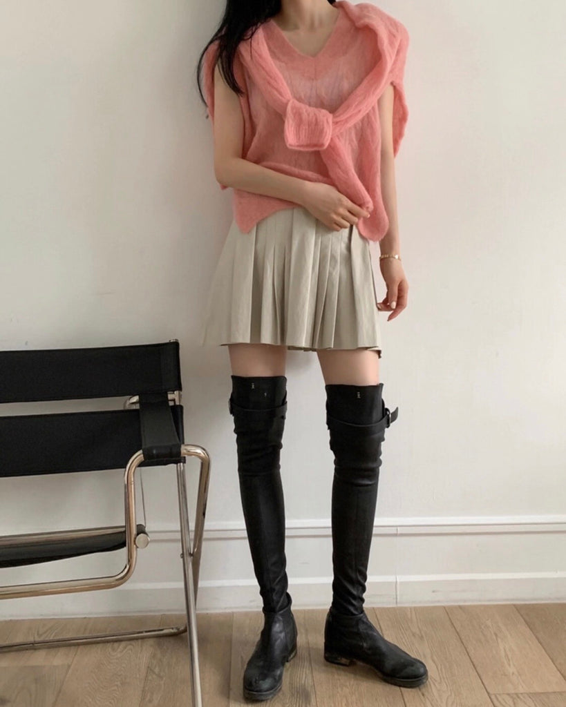 V Neck Light Knit Vest (Pink)