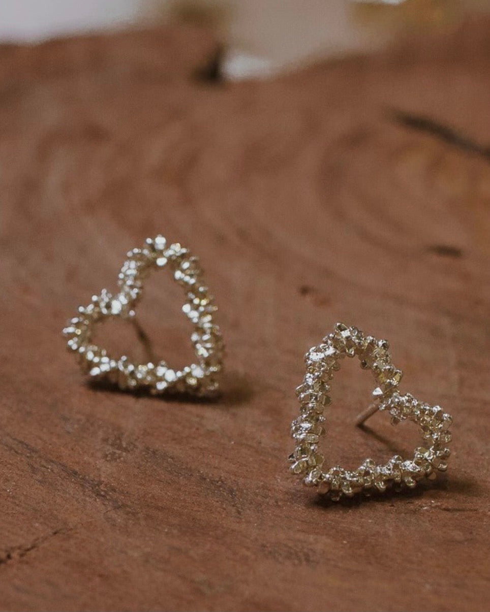 Beaded Heart Stud Earring