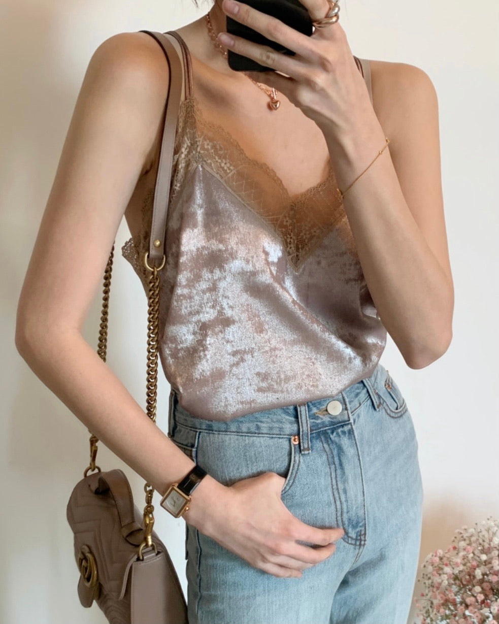 V Back Lace Cami (Beige)