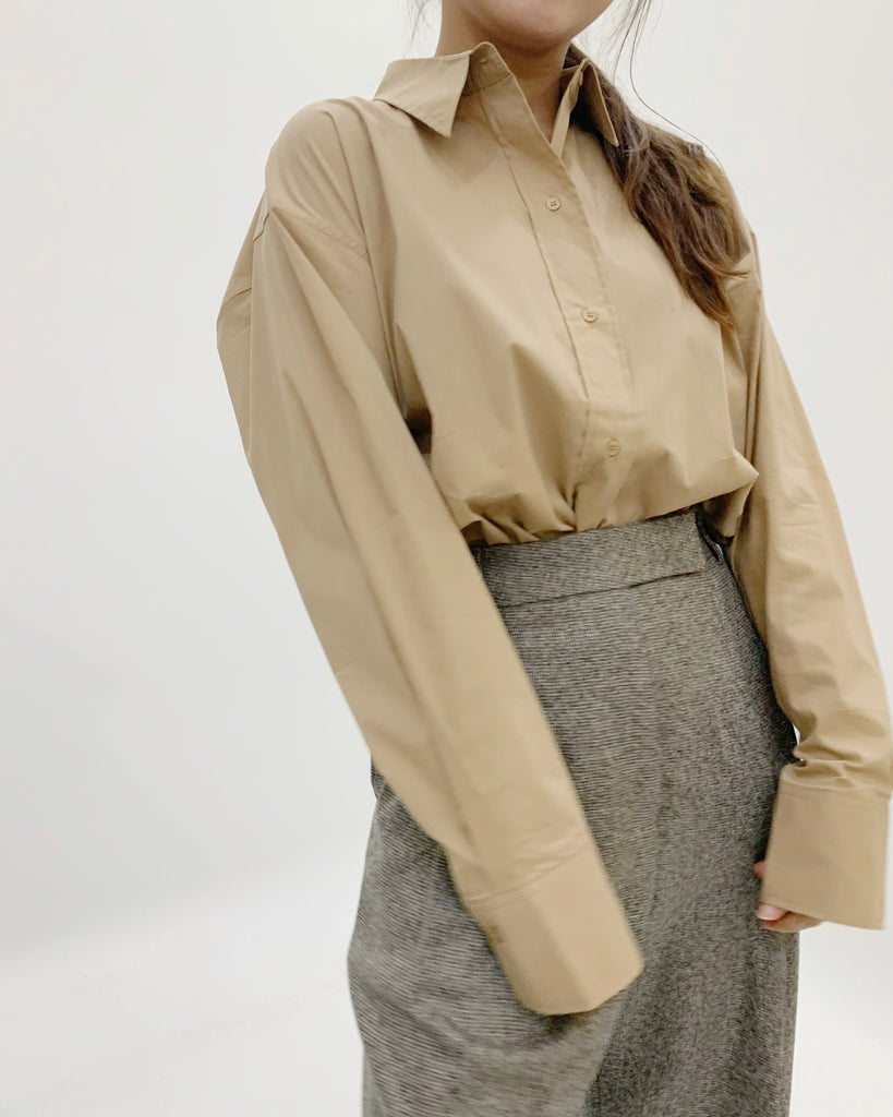 Oversized Button Down Shirt (Beige)