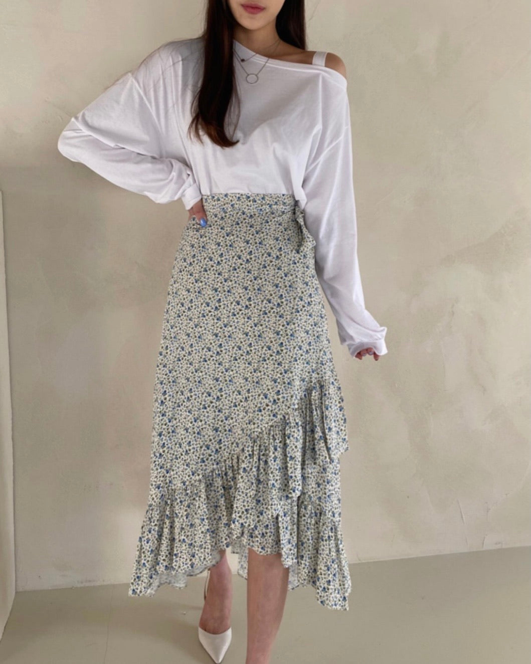 Side Frill Printed Wrap Skirt (Ivory)