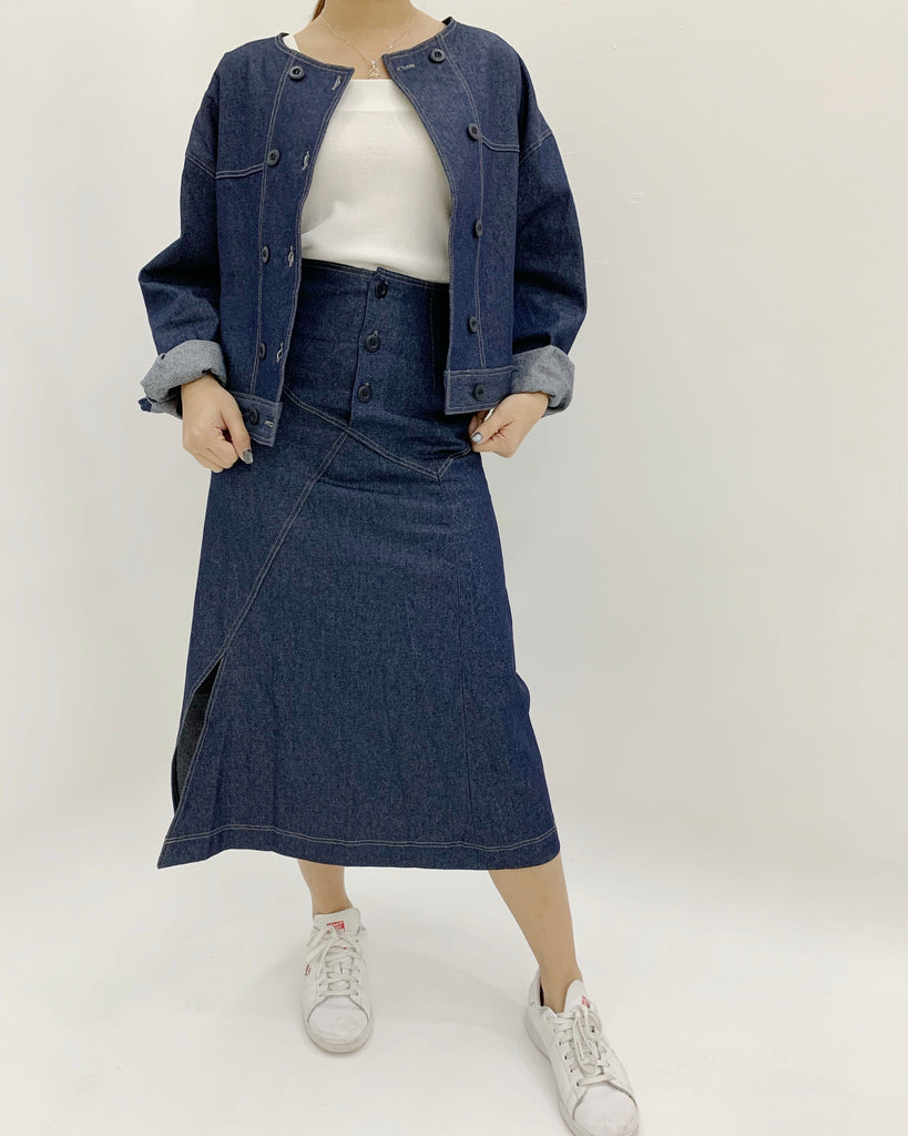 Solyn Round Neckline Denim Jacket