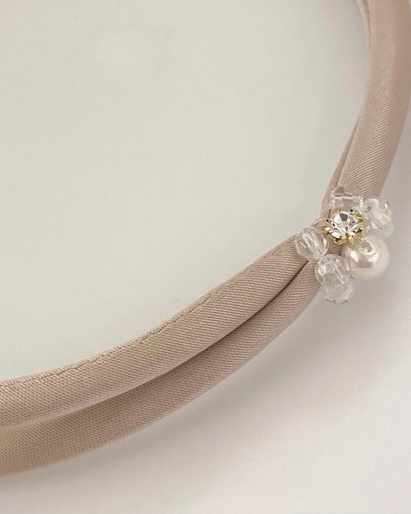 Satin Cross Band With Crystal Hairband