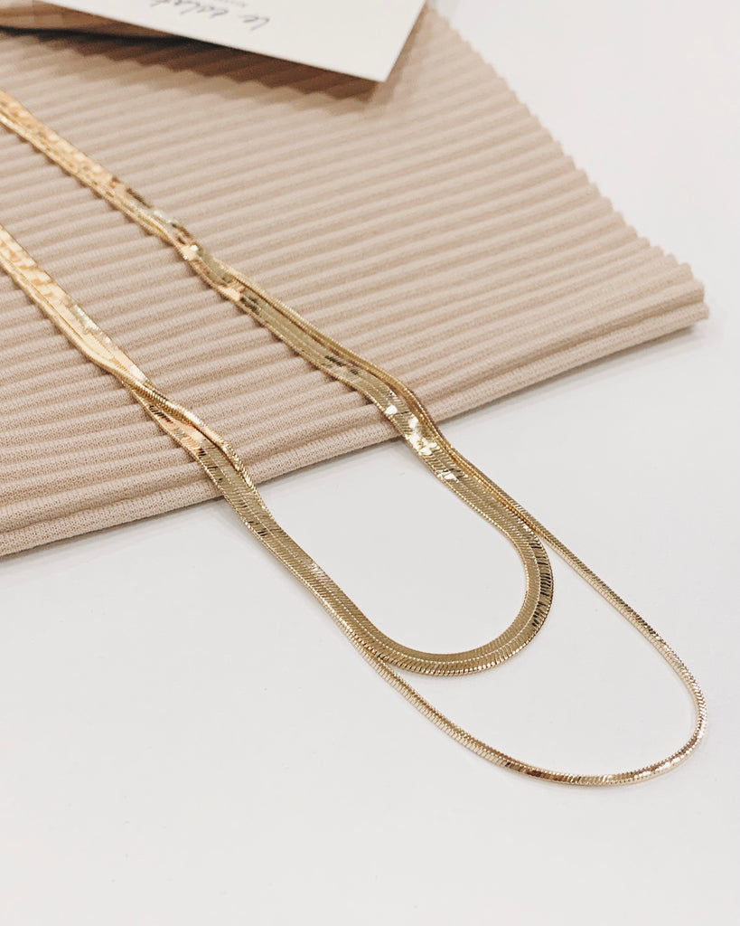 Double Flat Necklace Set (Gold)