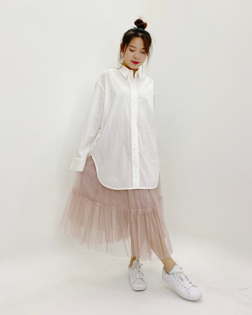 Oversized Button Down Shirt (Ivory)