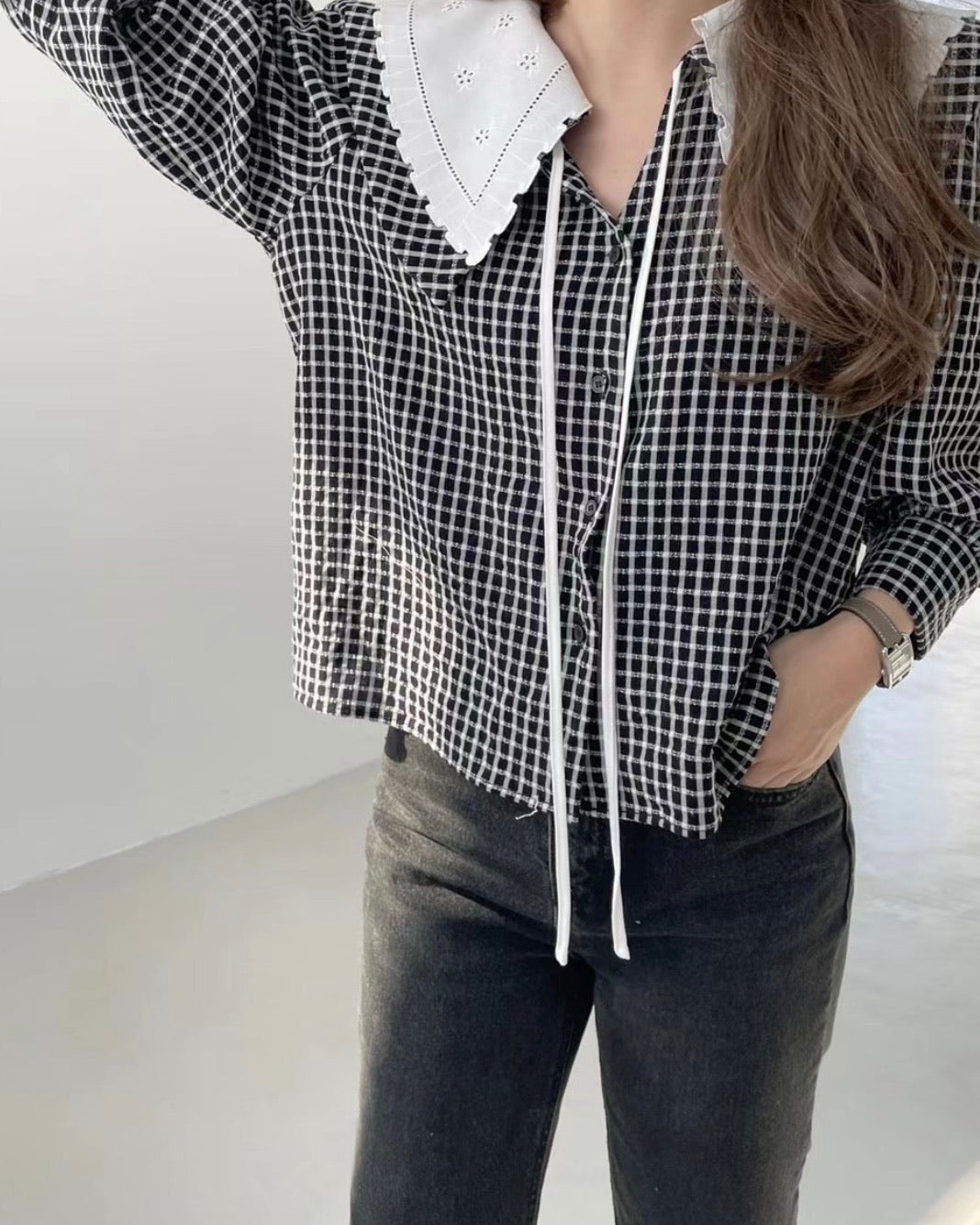 Lace Checked Top (Black)