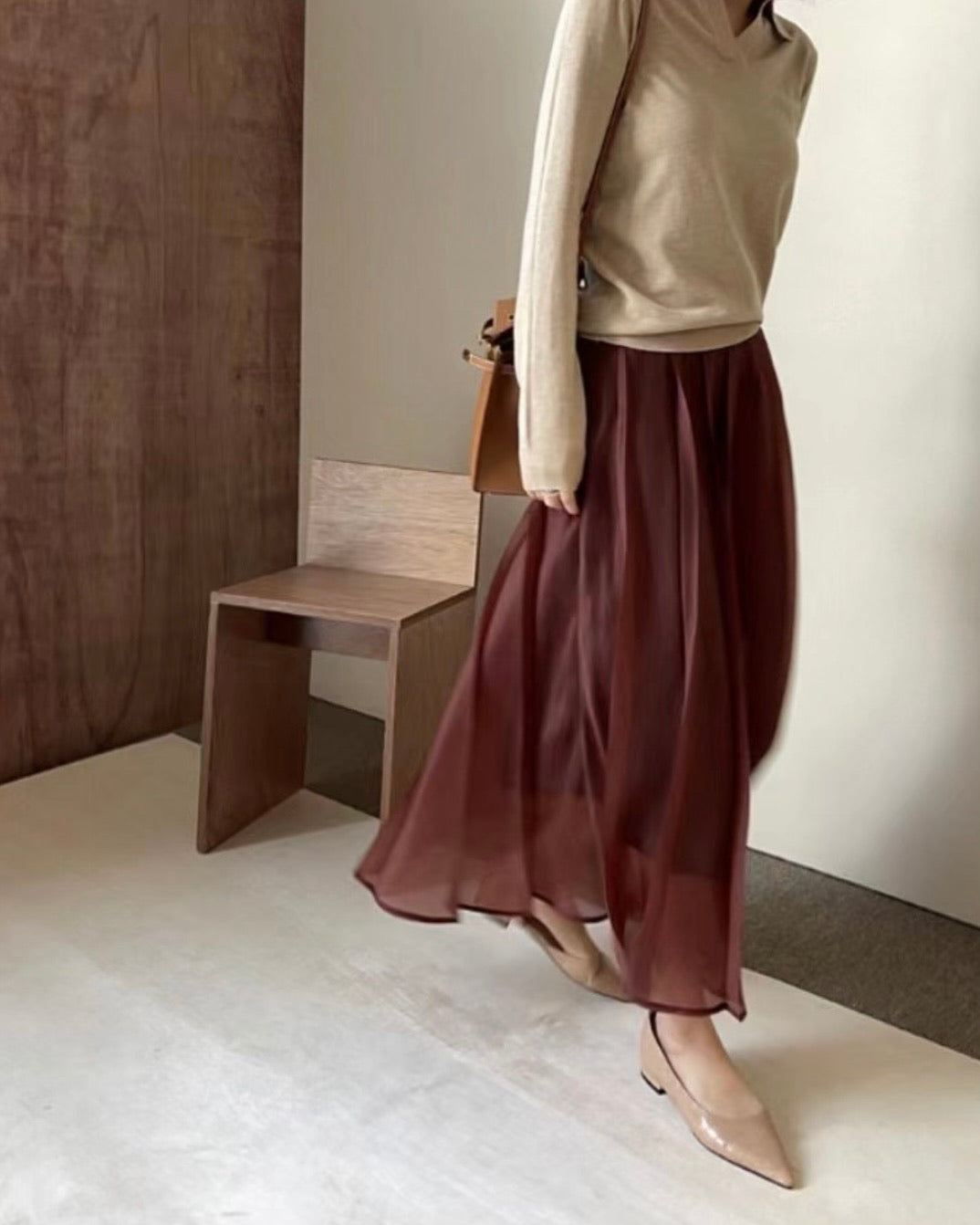 Pleated Maxi Flowy Layered Skirt