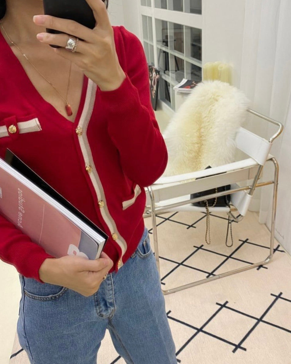 Y Button One Side Outline Knit Cardigan (Red)