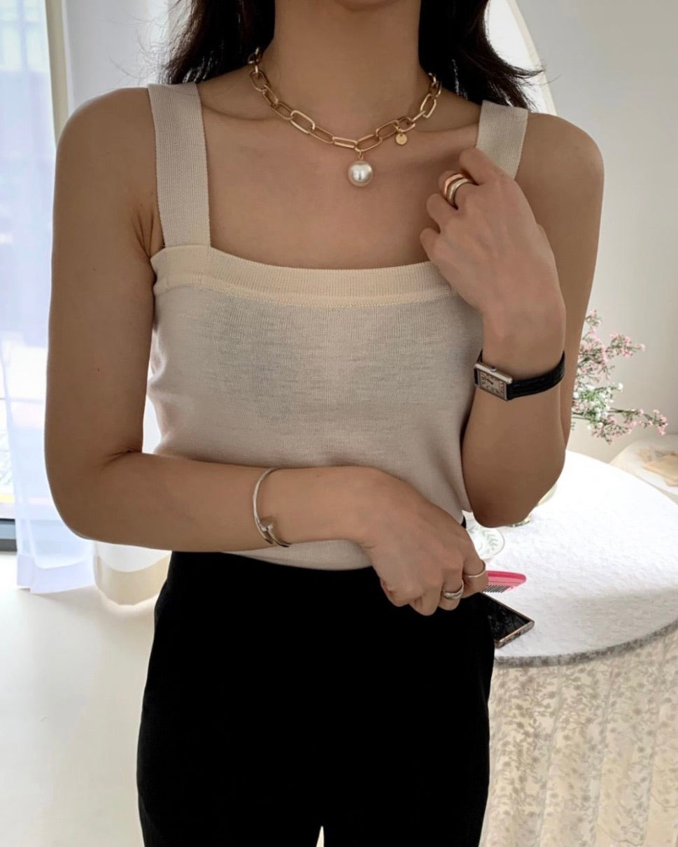 Square Neck Sleeveless Knit Top