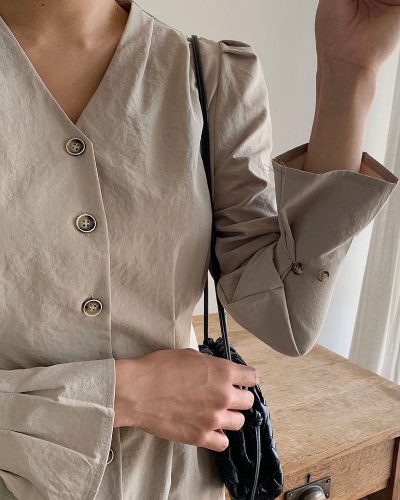 Berkley Puff Sleeved Button Ops (Beige)