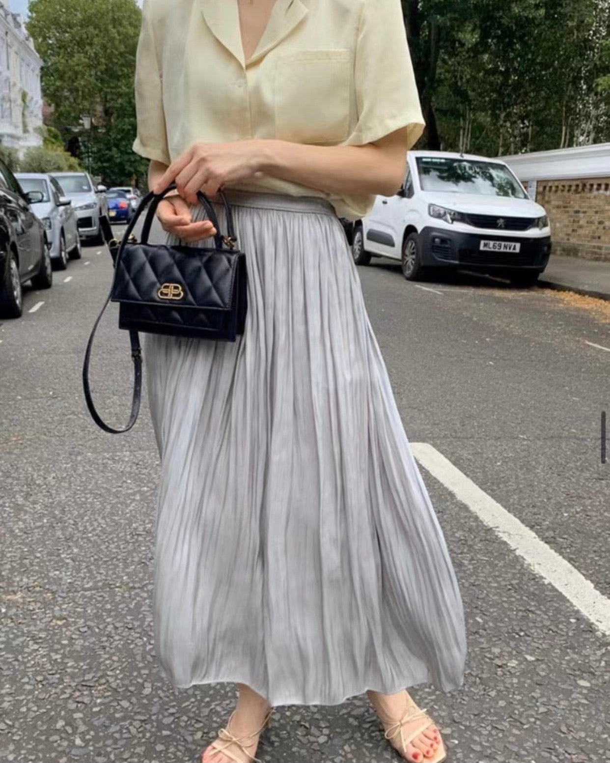 Banded Soft Pleated Sheen Skirt