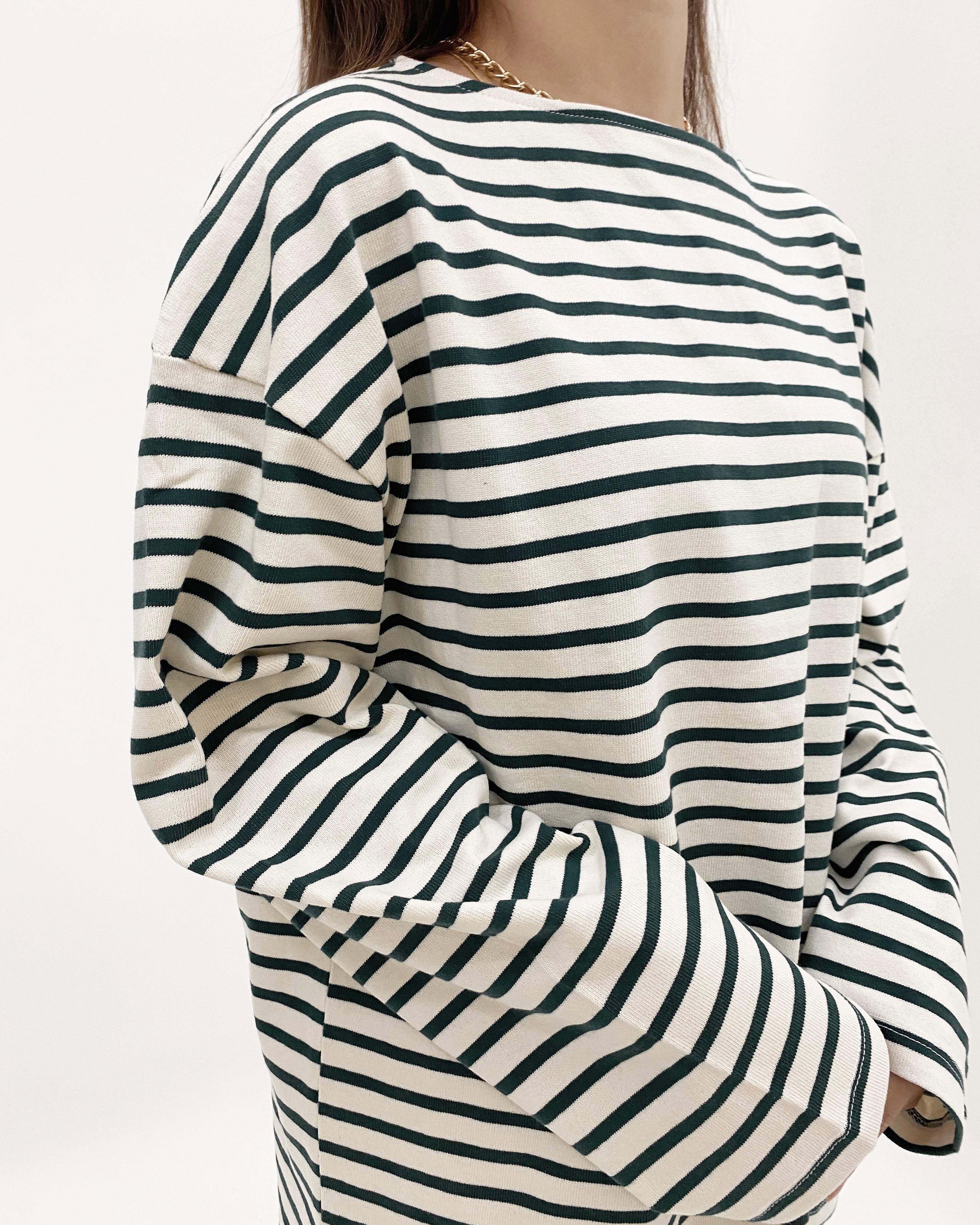 Striped Cotton Long Sleeve Top (Green)