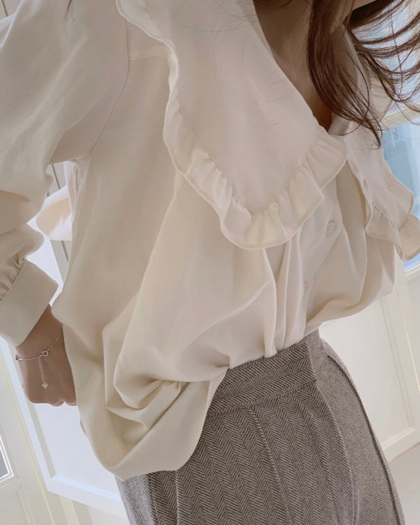 Evelyn Ruffle Trim Big Collared Blouse