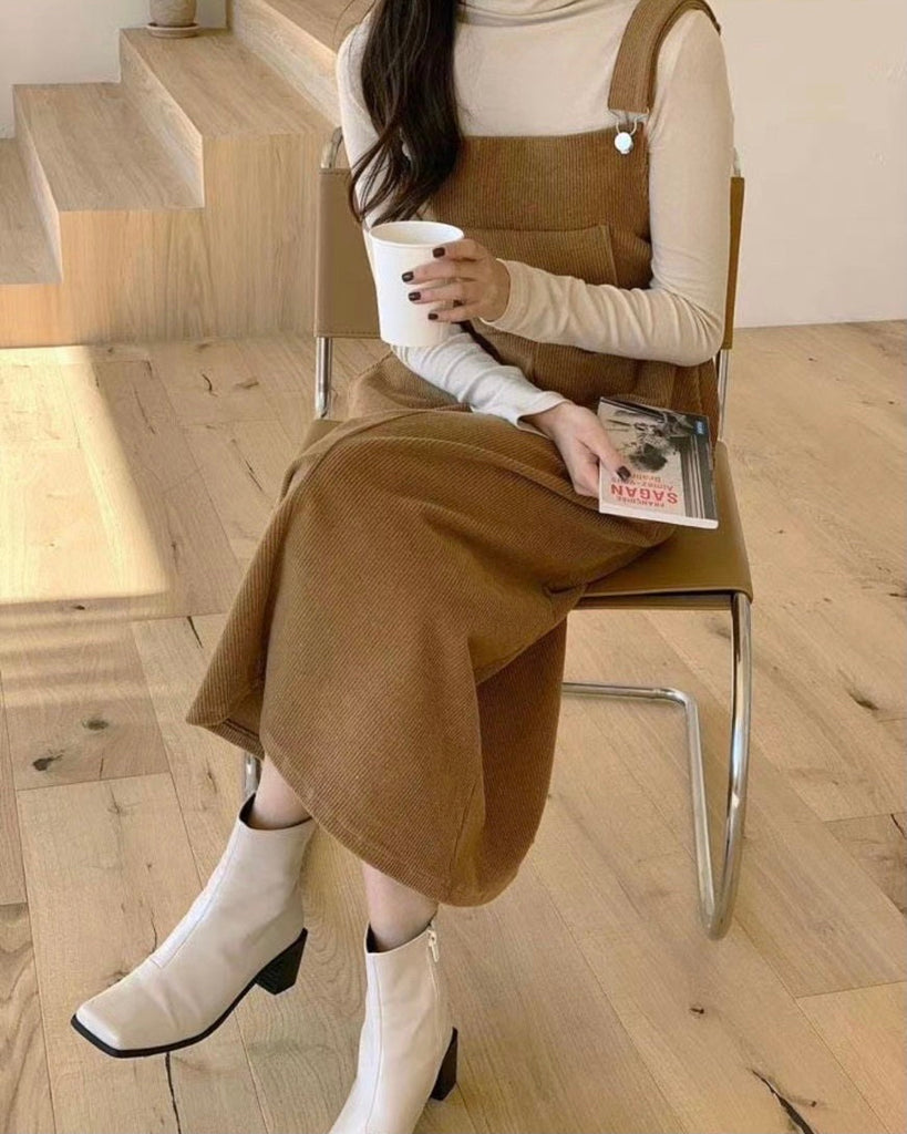 Isadora Corduroy Pinafore Ops (Brown)