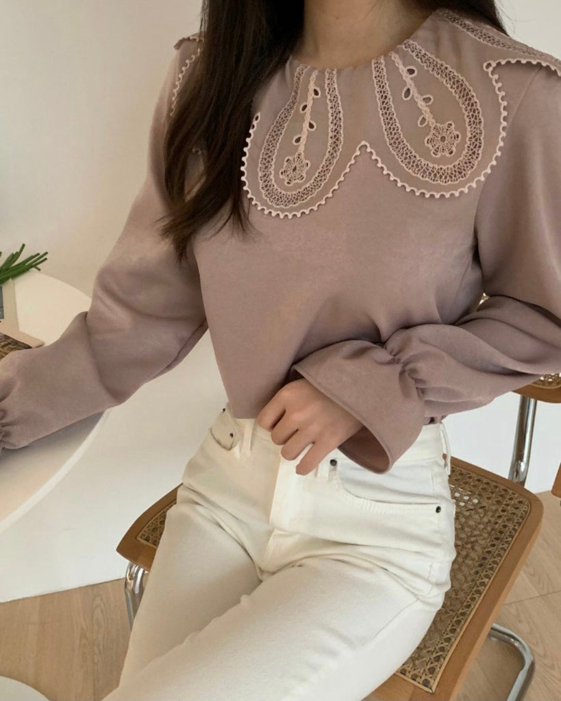Rounded Lace Collar Blouse (Pink)