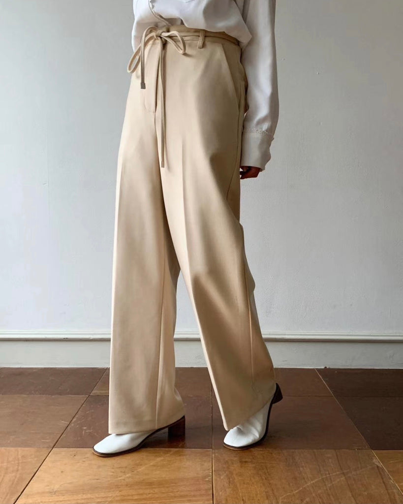 Briana Flare Pants with Sash (Beige)