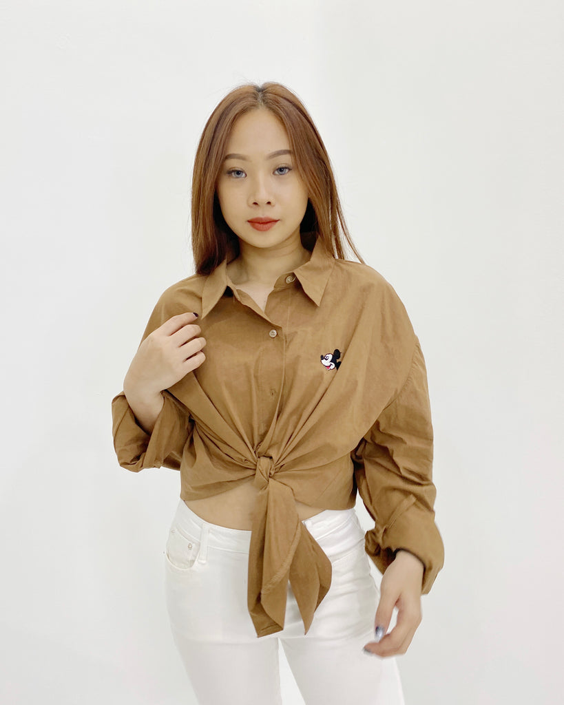 Mickey Mouse Button Down Shirt (Brown)