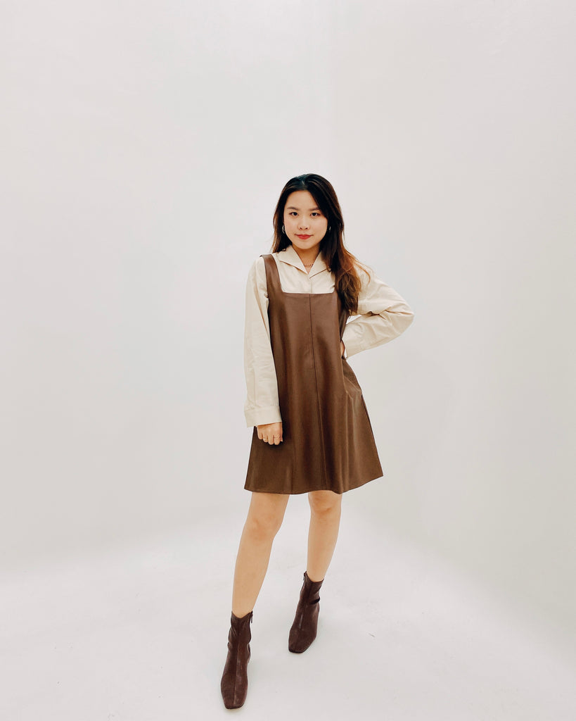 2-Way Faux Leather Short Ops (Brown)