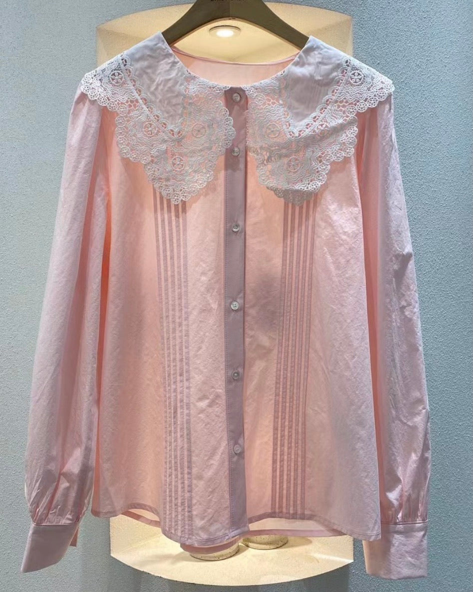 Lace Collar Pleated Fold Shirt
