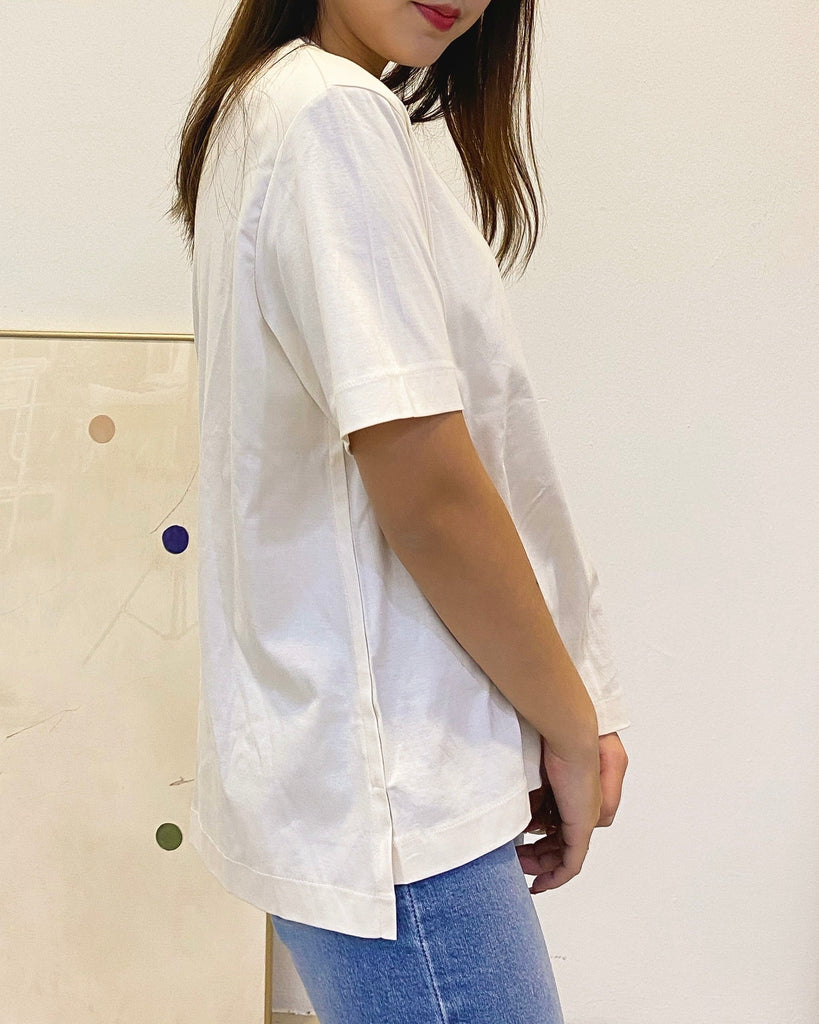 Padded Shoulder Basic Tee (Cream)