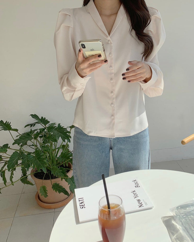 Ryan Puff Sleeved Button Blouse (Ivory)