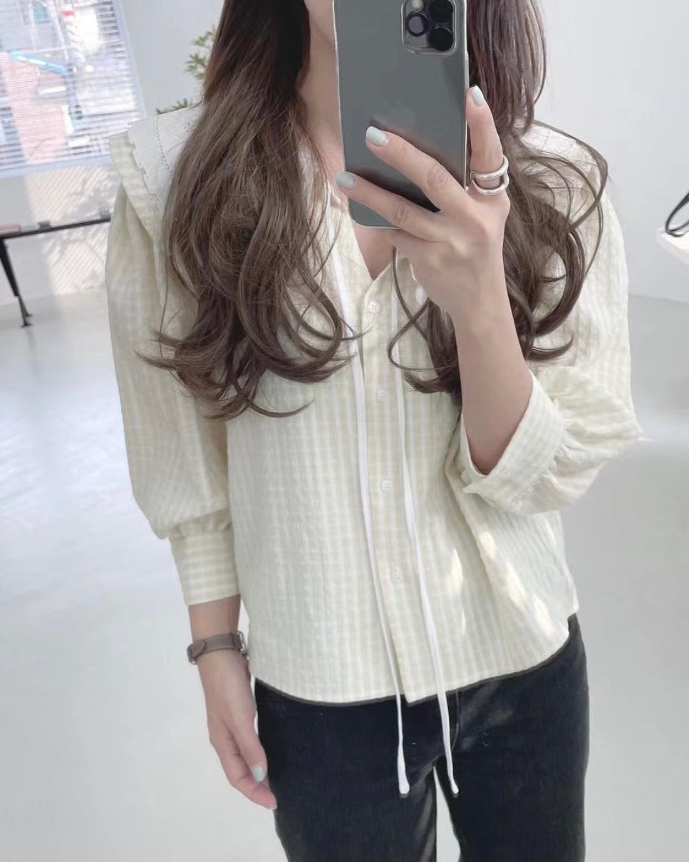 Lace Checked Top (Beige)