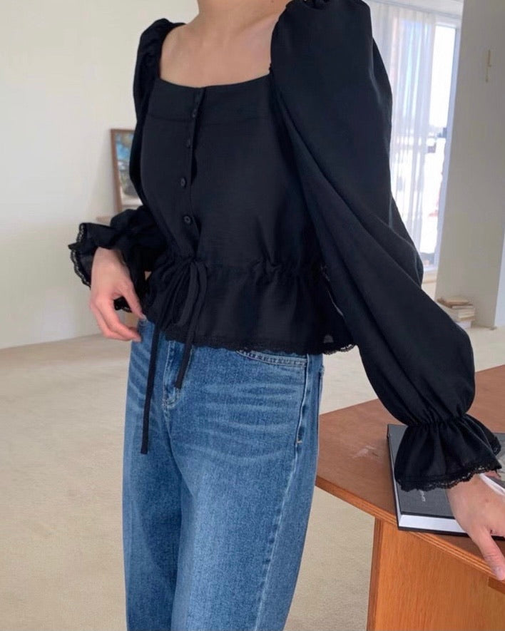 Square Neck Drawstring Puff Sleeved Blouse (Black)