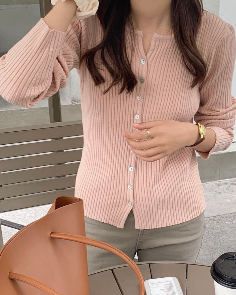 Open Collared Button Ribbed Knit Cardigan (Pink)