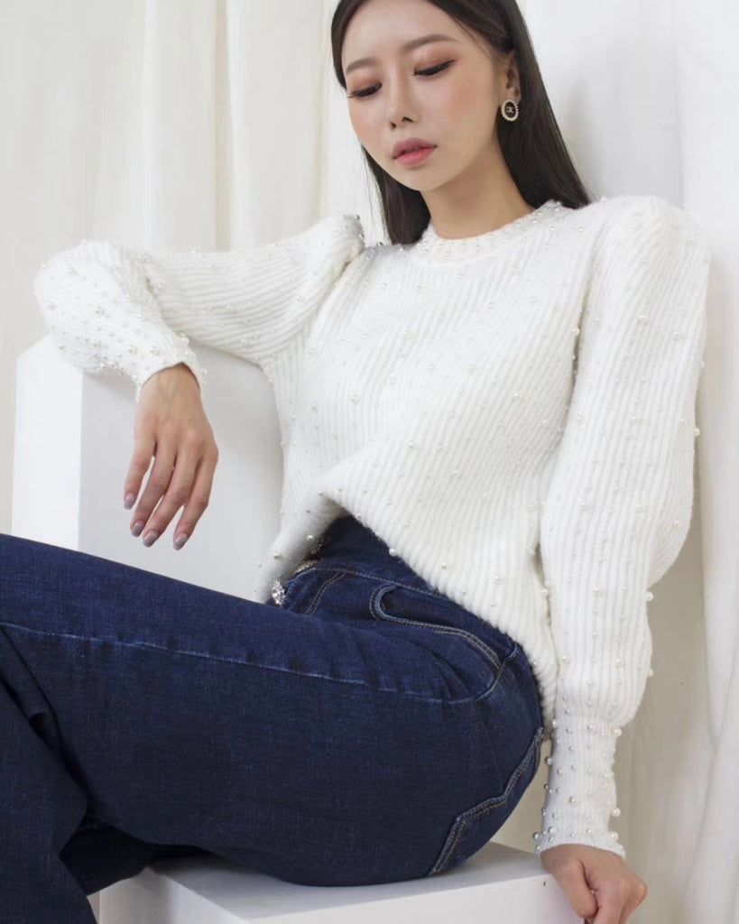 Pearl Lined Puff Sleeve Knit (Ivory)