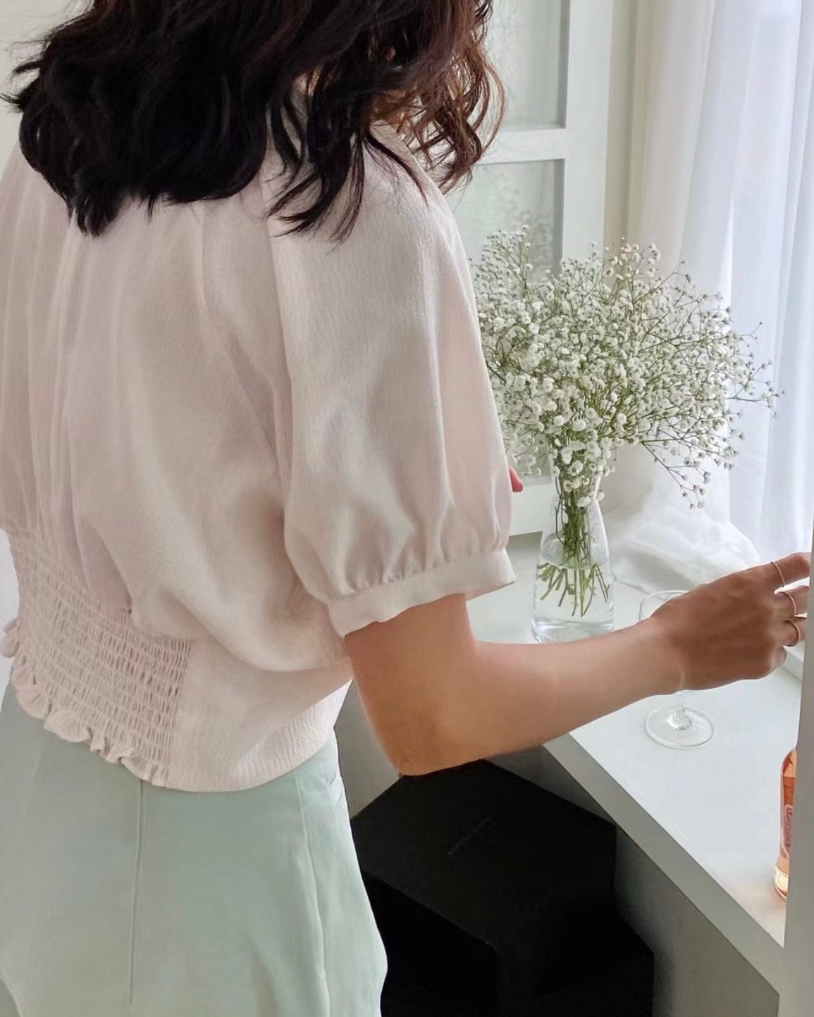 Back Smocked Mid Ruched Blouse