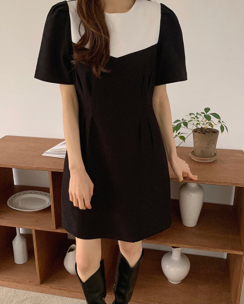 Contrast Colour Puff Sleeve Short Ops (Black)