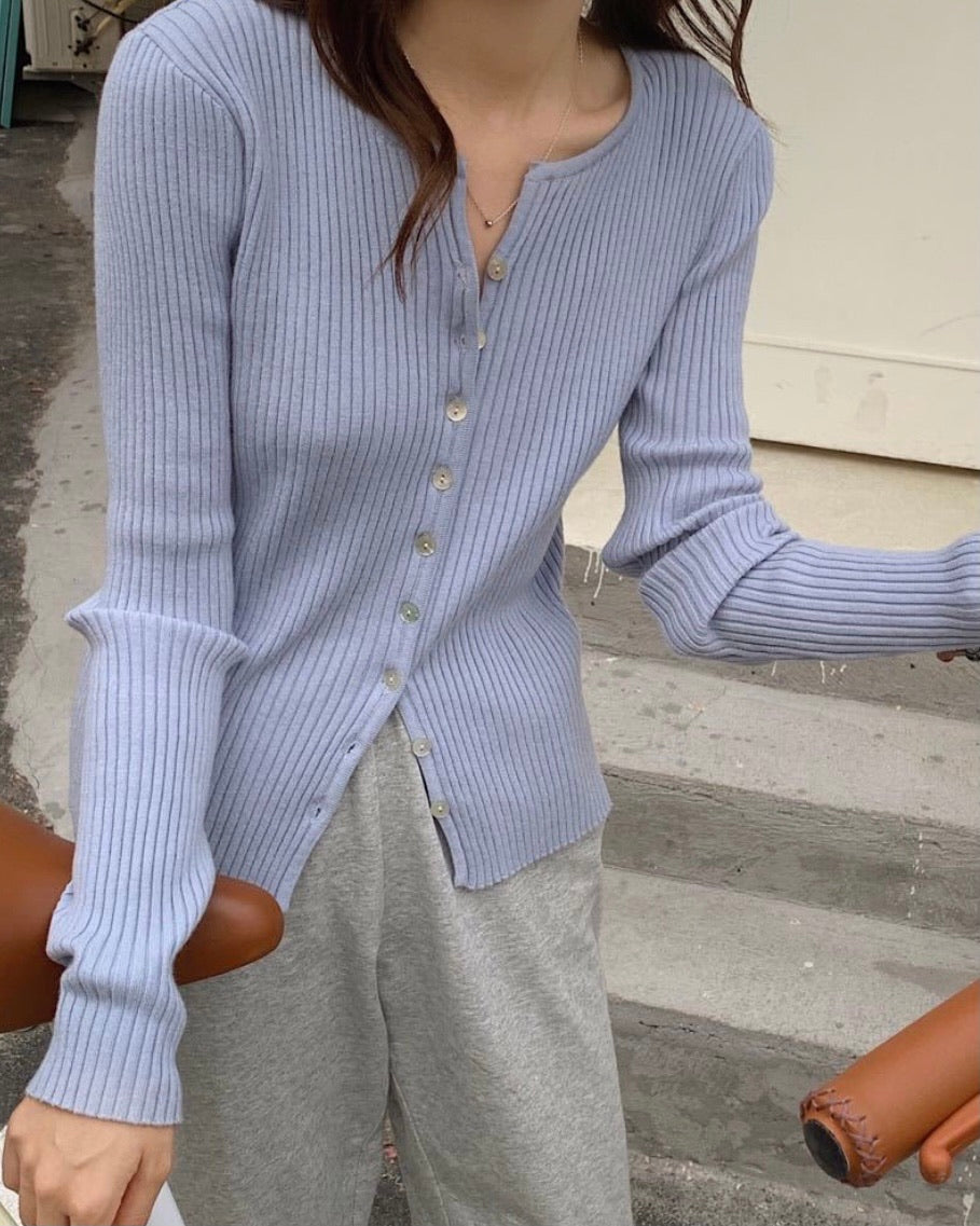 Open Collared Button Ribbed Knit Cardigan (Blue)